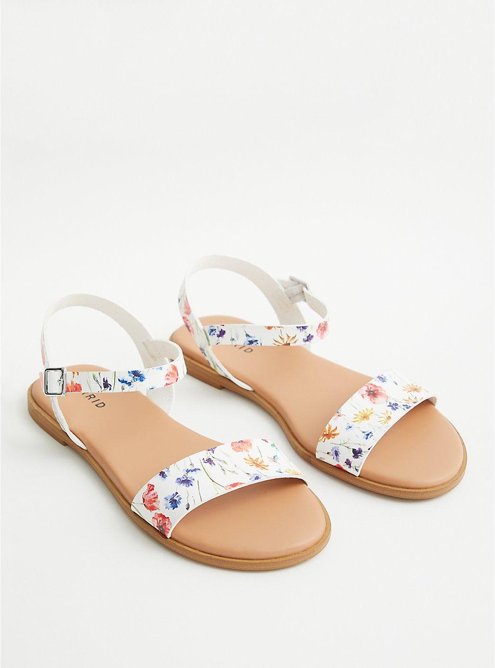 White Floral Faux Leather Gladiator Sandal (WW), FLORAL, hi-res