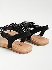 Black Polka Dot Stretch T-Strap Sandal (WW), BLACK, alternate