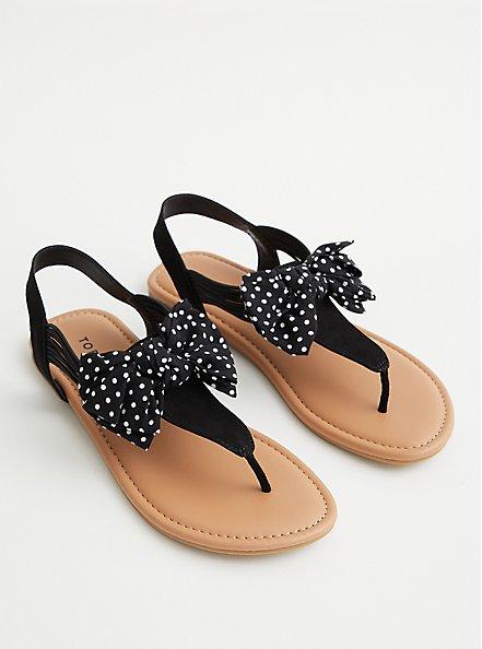 Black Polka Dot Stretch T-Strap Sandal (WW), BLACK, hi-res