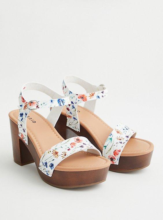 Floral Faux Leather Platform Heel (WW), , hi-res