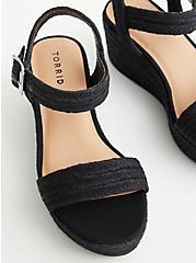 Black Woven Strap Wedge, BLACK, alternate