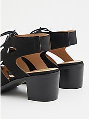 Plus Size Black Faux Suede Lace Up Block Heel (WW), BLACK, alternate