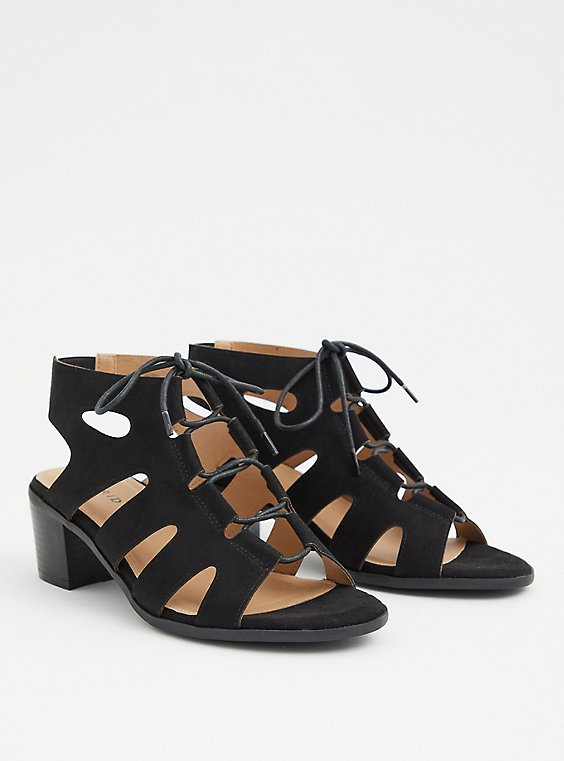 Plus Size Black Faux Suede Lace Up Block Heel (WW), , hi-res
