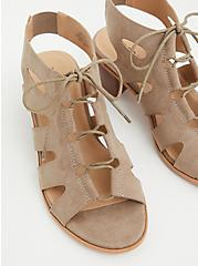 Plus Size Taupe Faux Suede Lace Up Block Heel (WW), TAUPE, alternate