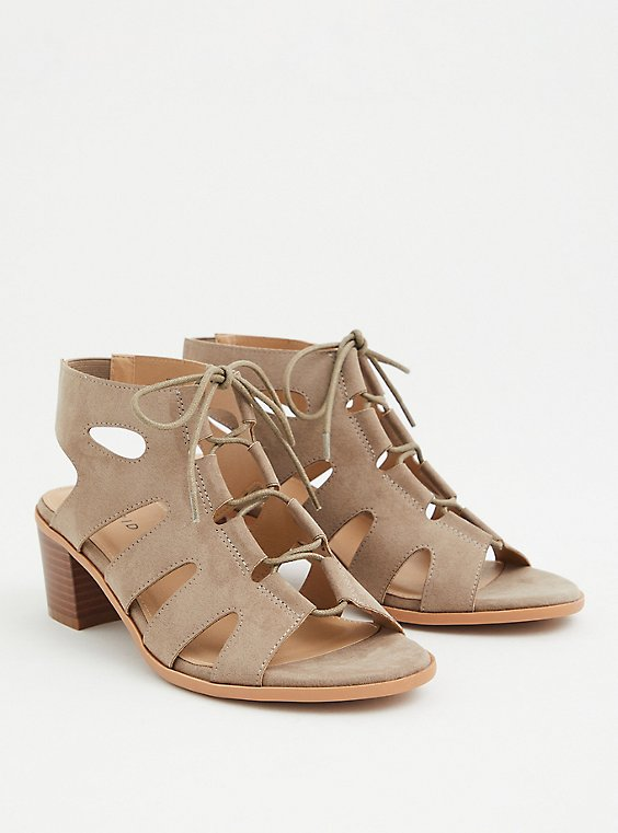 Plus Size Taupe Faux Suede Lace Up Block Heel (WW), , hi-res