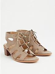Plus Size Taupe Faux Suede Lace Up Block Heel (WW), TAUPE, hi-res