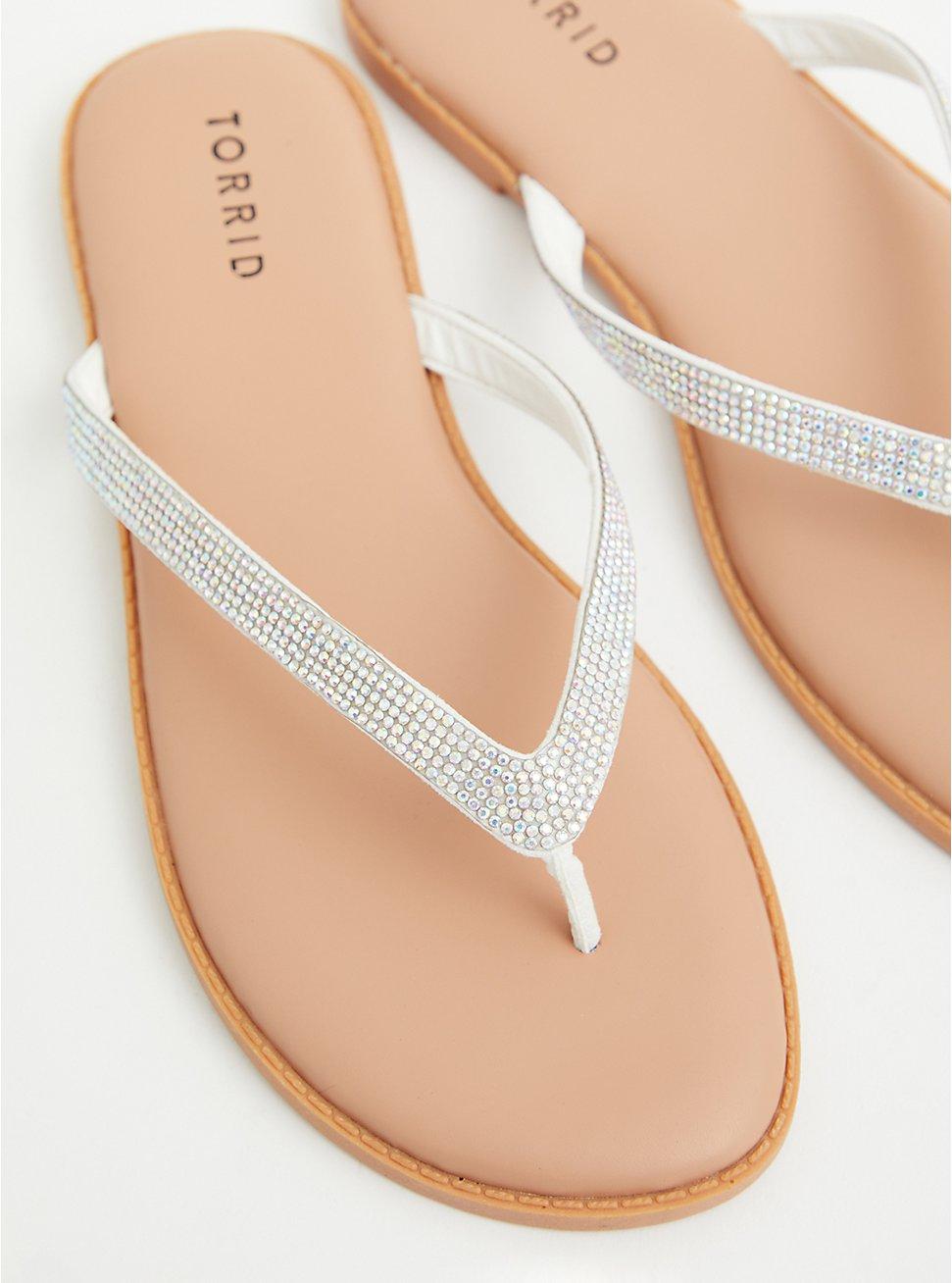 Sunnie - White Rhinestone Flip Flop (WW), WHITE, hi-res