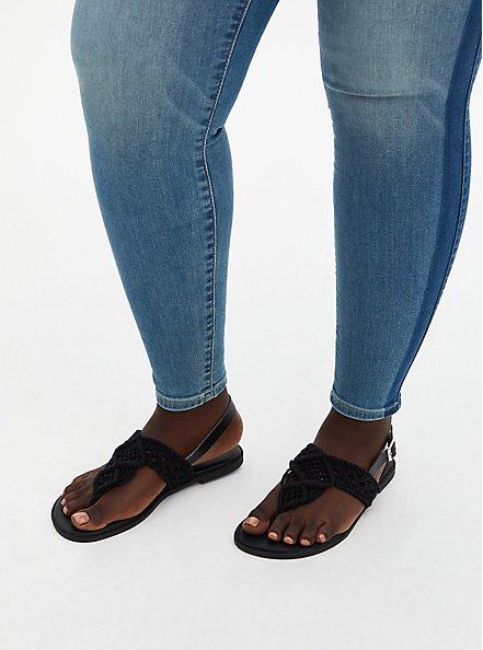 Black Crocheted T-Strap Sandal , BLACK, alternate