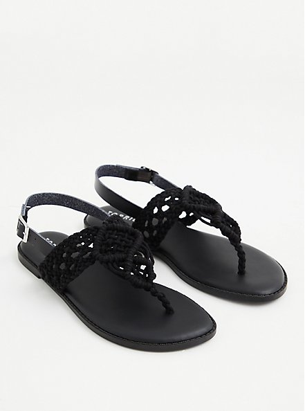 Black Crocheted T-Strap Sandal , BLACK, hi-res
