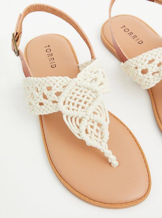 Ivory Crocheted T-Strap Sandal (WW), , hi-res