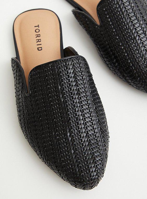 Black Faux Leather Woven Mule (WW), BLACK, hi-res