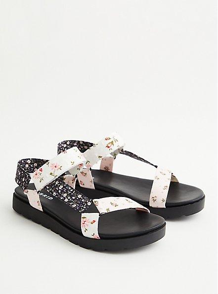 Black & White Floral Velcro Strap Sandal (WW), FLORAL, alternate