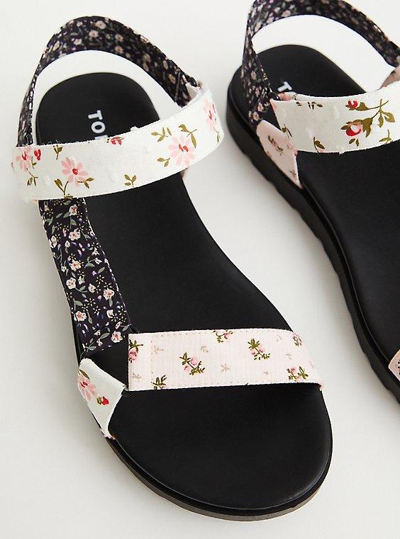 Black & White Floral Velcro Strap Sandal (WW), , hi-res