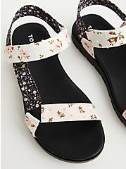 Black & White Floral Velcro Strap Sandal (WW), FLORAL, hi-res