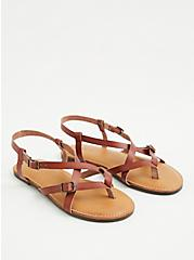 Cognac Faux Leather Gladiator Sandal , COGNAC, alternate