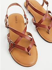 Cognac Faux Leather Gladiator Sandal , COGNAC, hi-res