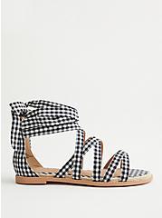 Gingham Ankle Wrap Espadrille Sandal (WW), BLACK-WHITE, alternate