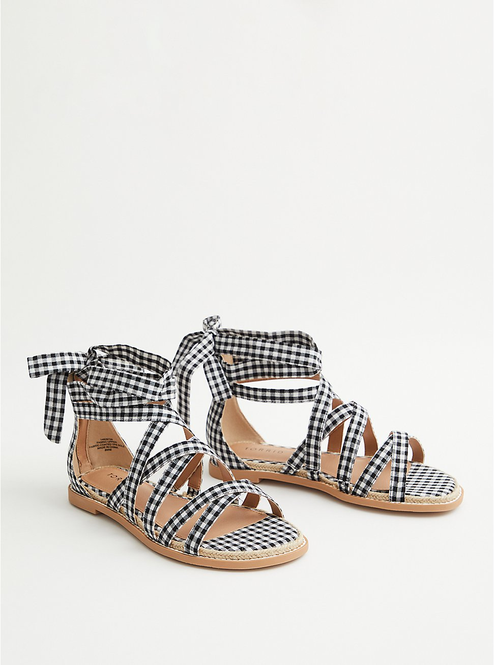Gingham Ankle Wrap Espadrille Sandal (WW), BLACK-WHITE, hi-res