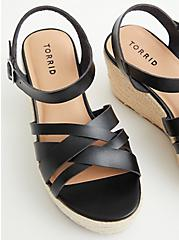 Plus Size Black Faux Leather Espadrille Wedge Flatform , BLACK, alternate
