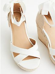 Plus Size  Ivory Ankle Wrap Espadrille Platform Wedge (WW), IVORY, alternate