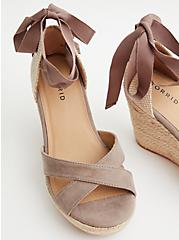 Taupe Faux Suede Ankle Wrap Wedge (WW), TAUPE, alternate