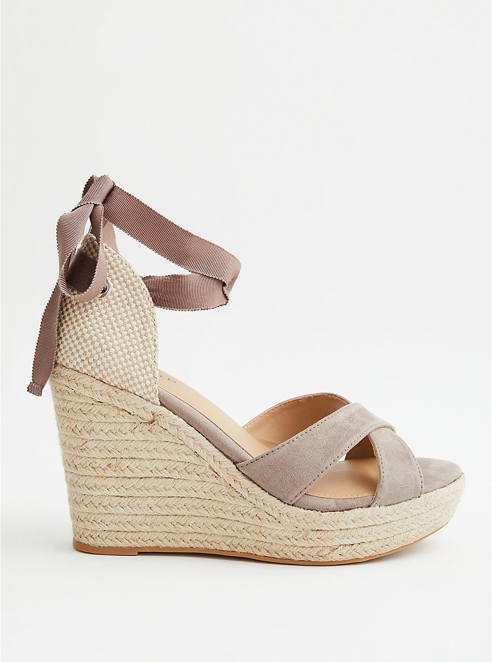 Taupe Faux Suede Ankle Wrap Wedge (WW), TAUPE, hi-res