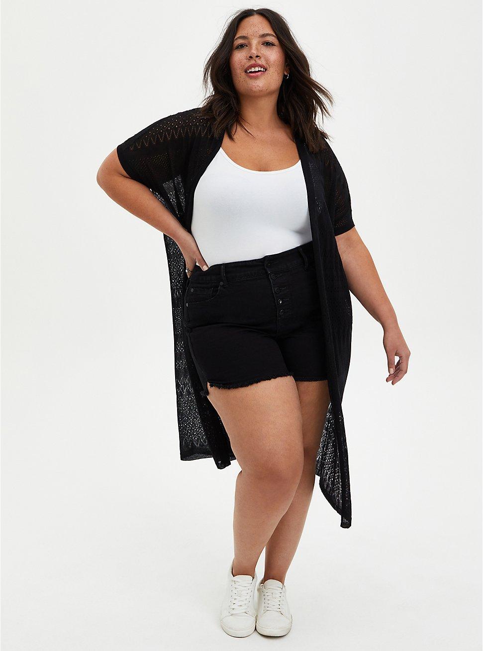 Black Stripe Dolman Duster Shirt, DEEP BLACK, hi-res