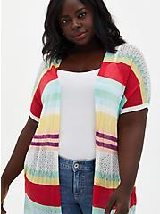 Multicolored Stripe Dolman Duster Sweater, STRIPE - MULTICOLOR, alternate