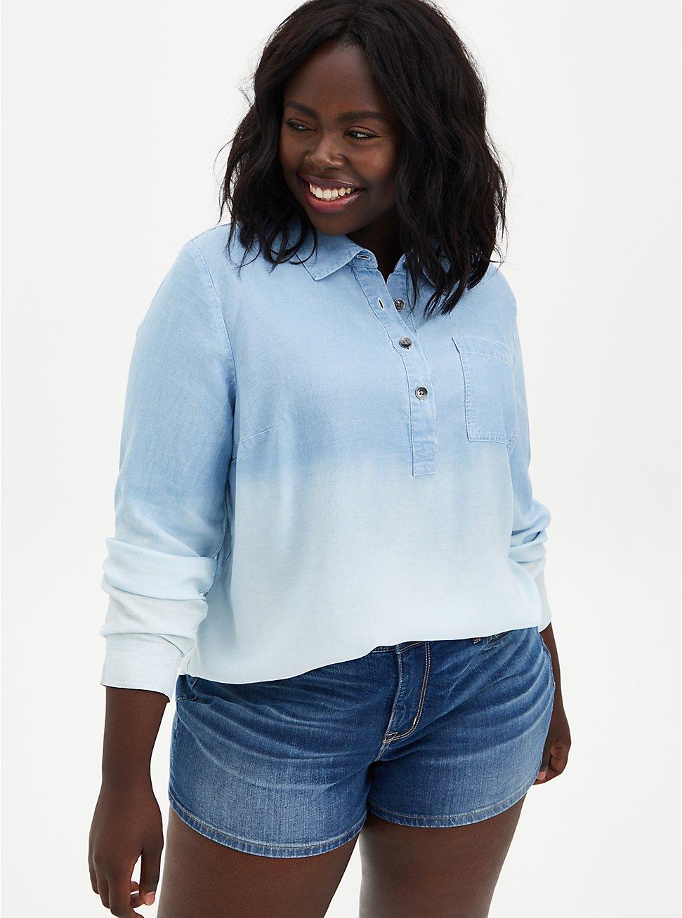 Chambray Dip-Dye Button-Up Shirt , CHAMBRAY, hi-res