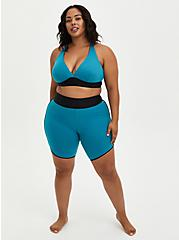 Plus Size Teal Mesh Triangle Swim Top, , fitModel1-alternate