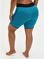 Plus Size Teal Mesh Active Swim Biker Short, TEAL, alternate