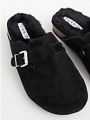 Black Faux Suede & Faux Fur-Lined Flat (WW), BLACK, alternate