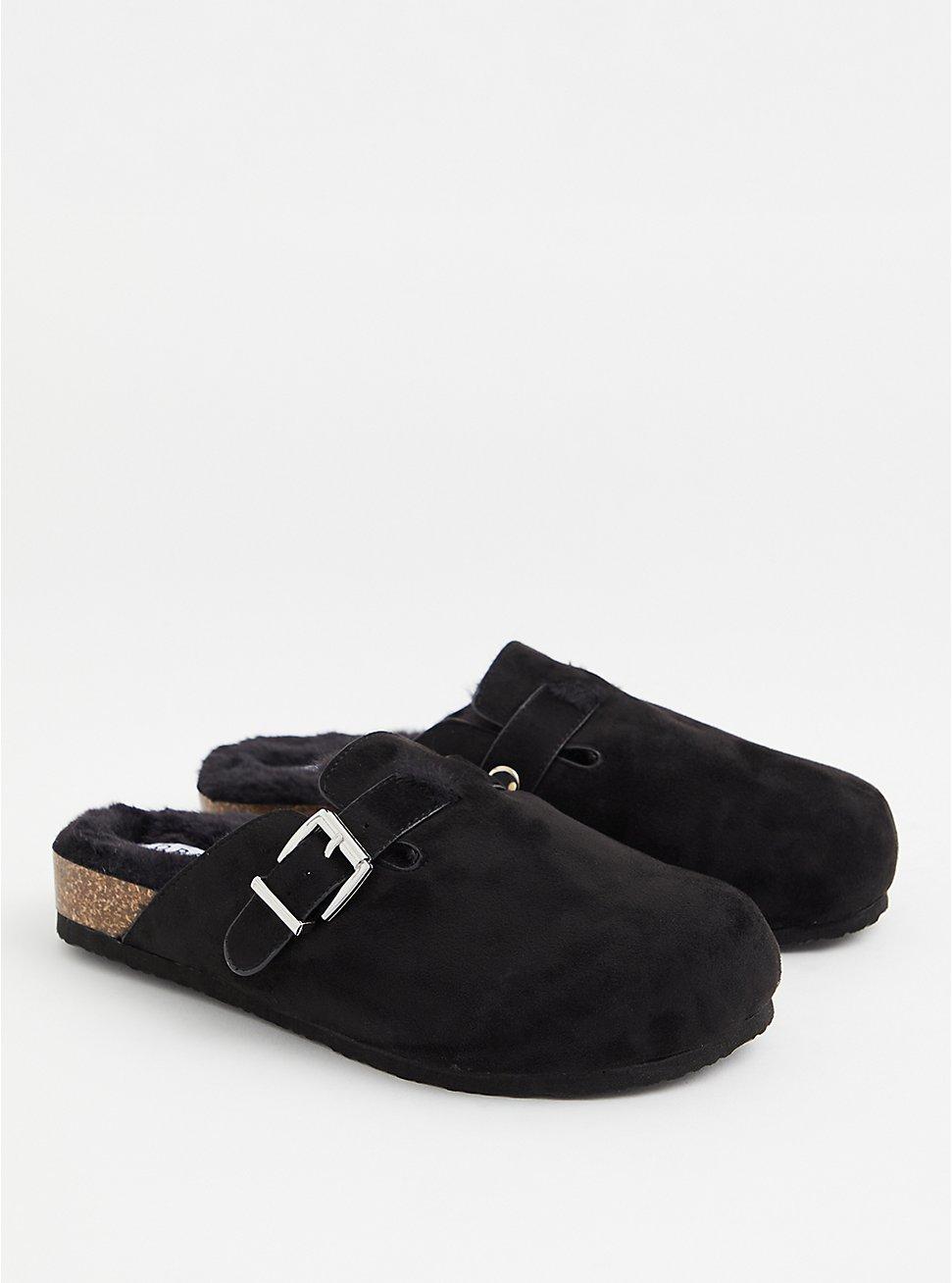 Black Faux Suede & Faux Fur-Lined Flat (WW), BLACK, hi-res