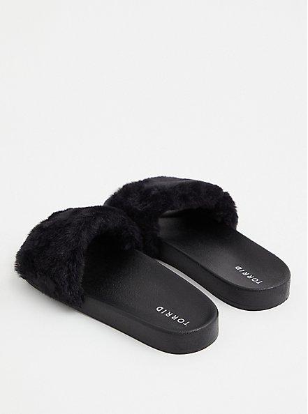 Black Faux Fur Strap Slide (WW), BLACK, alternate