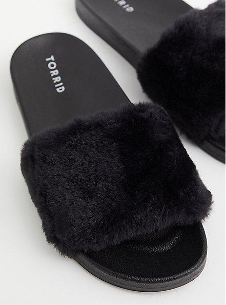 Black Faux Fur Strap Slide (WW), BLACK, hi-res