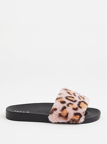 Leopard Faux Fur Strap Slide (WW), HOT PINK, alternate