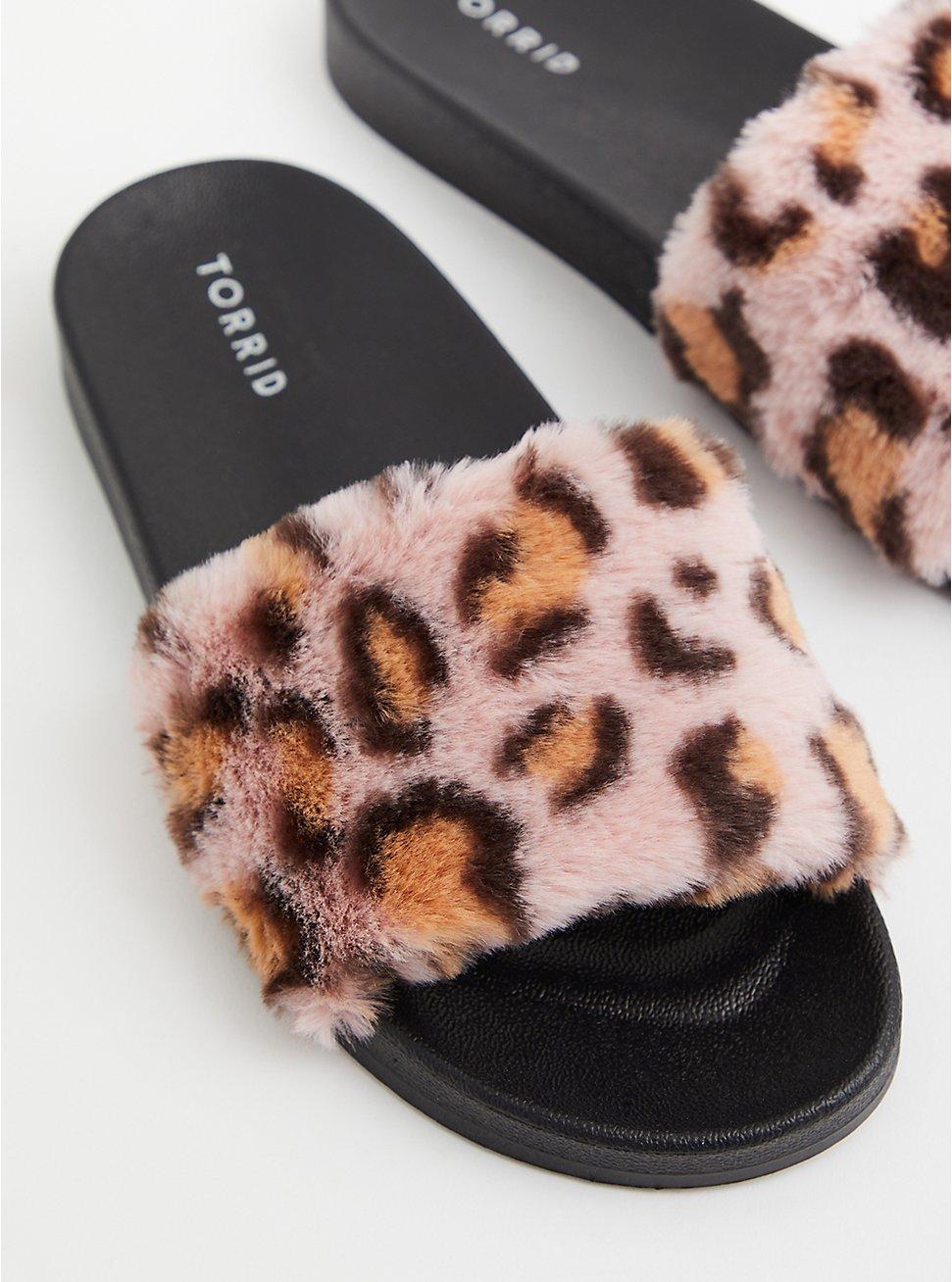Leopard Faux Fur Strap Slide (WW), HOT PINK, hi-res