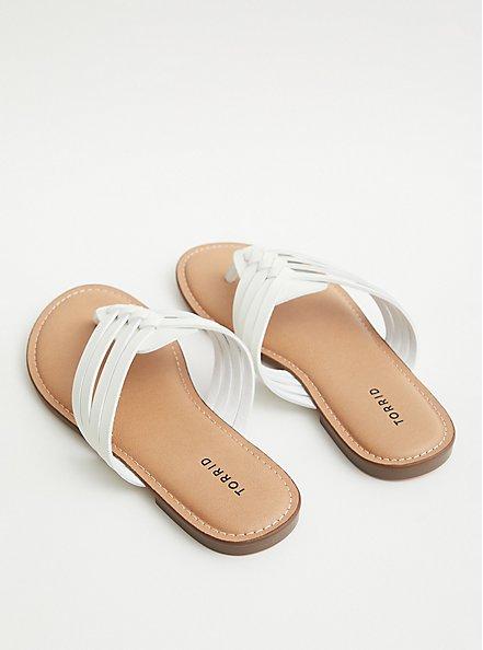 White Faux Leather Braided Flip Flop (WW), WHITE, alternate