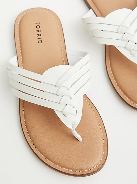 White Faux Leather Braided Flip Flop (WW), WHITE, hi-res