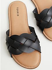 Black Faux Leather Braided Slide (WW), BLACK, alternate
