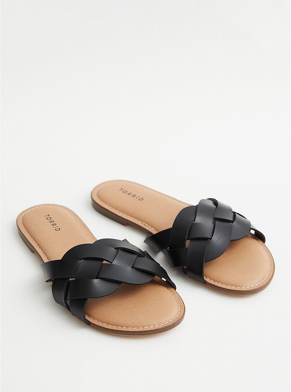 Black Faux Leather Braided Slide (WW), BLACK, hi-res