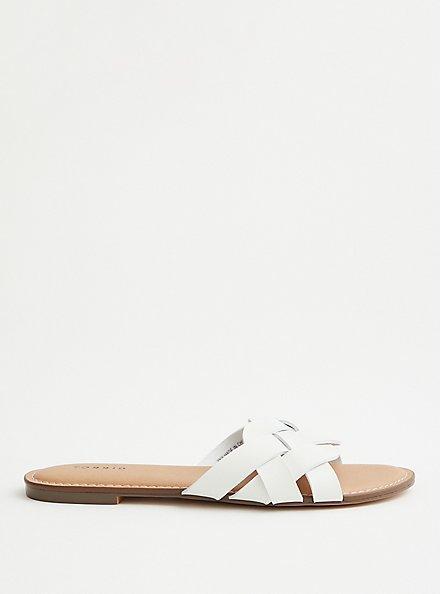 White Faux Leather Braided Slide (WW), WHITE, alternate
