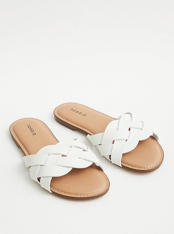 White Faux Leather Braided Slide (WW), , hi-res