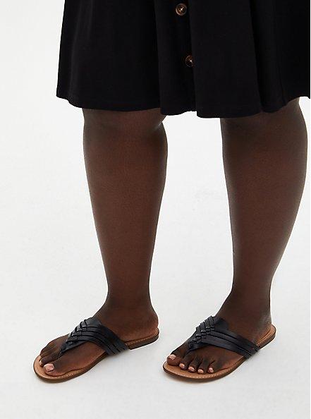 Black Faux Leather Braided Flip Flop (WW), BLACK, alternate
