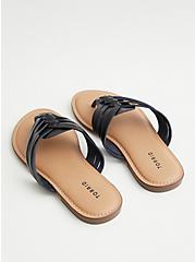 Black Faux Leather Braided Flip Flop (WW), , alternate