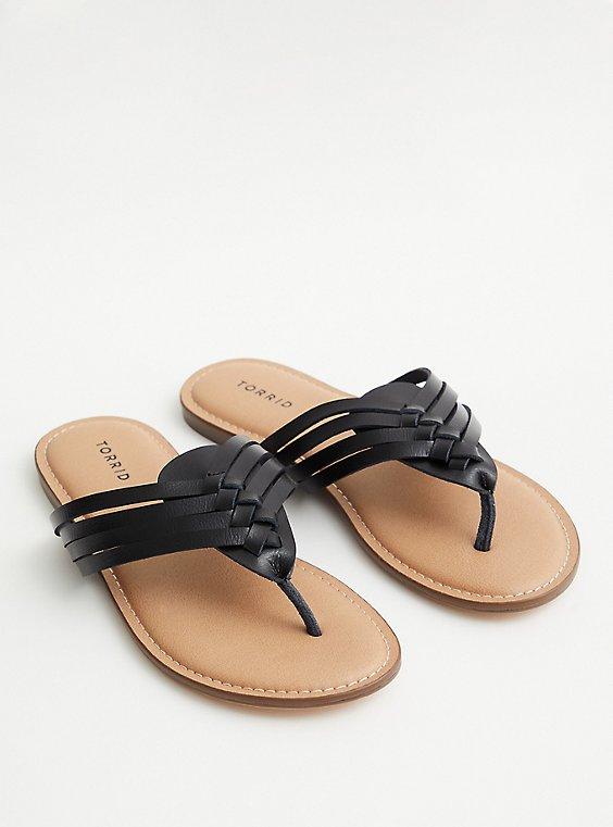 Black Faux Leather Braided Flip Flop (WW), BLACK, hi-res