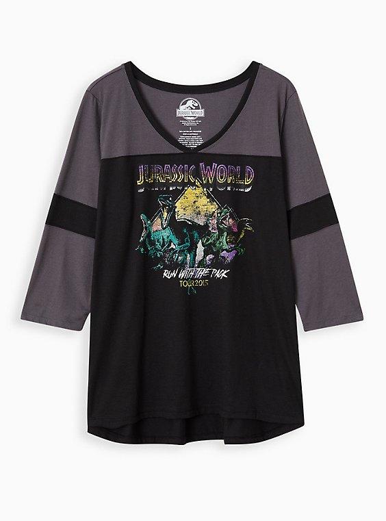 Jurassic World Football Raglan Top, BLACK  GREY, hi-res