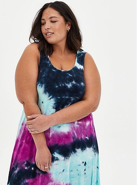 Purple Tie-Dye Super Soft Hi-Low Maxi Dress, TIE DYE, alternate