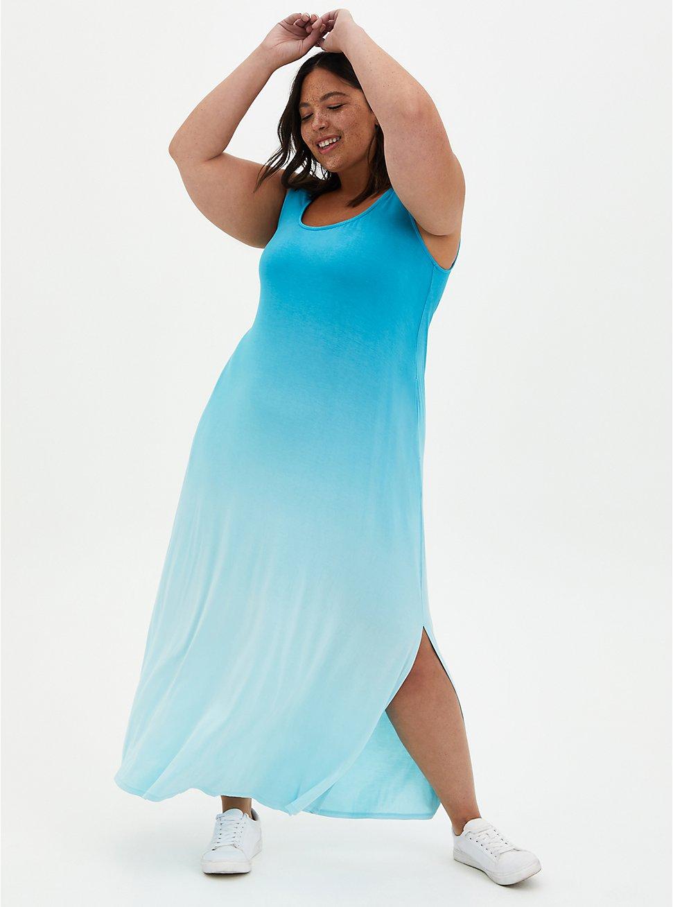 Teal Ombre Side Slit Super Soft Maxi Dress , OMBRE BLUE, hi-res