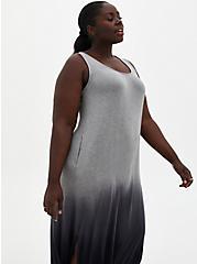 Black Ombre Side Slit Super Soft Maxi Dress, BLACK OMBRE, alternate